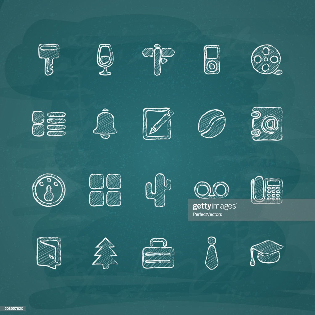 Universal Chalk Icons in doodle style 8 : Vector Art