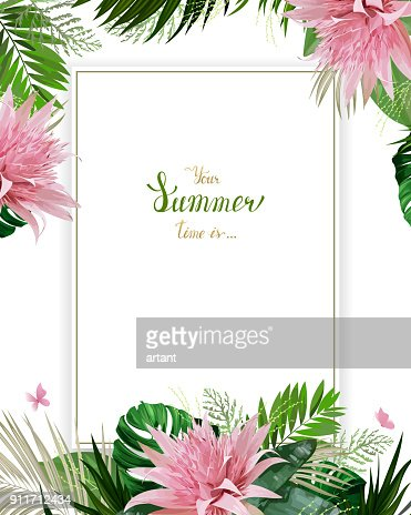 Universal invitation, congratulation card with green tropical palm, monstera leaves and Aechmea blooming flowers on the white background. Holiday banner with place for message on the summer poster. : stock vector
