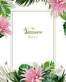 Universal invitation or congratulation card with green tropical palm, monstera leaves and Aechmea blooming flowers on the white background. Holiday banner with place for message on the summer poster.