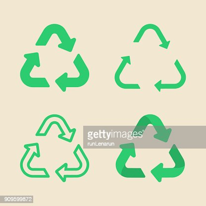 Universal recycling symbol flat icon set : stock vector