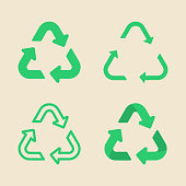 Universal recycling symbol flat icon set, collection of flat design of green arrow signs isolated on the eco background, vector illustration