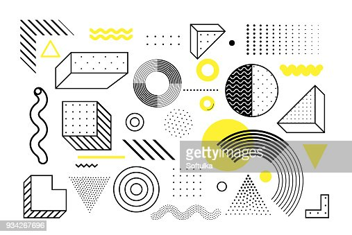 Universal trend geometric shapes set : arte vetorial