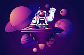 Music dance event. Universe party. DJ astronaut. Vector illustration with spaceman.