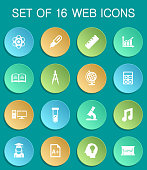 university web icons on colorful round buttons