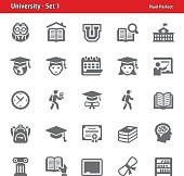Professional, pixel perfect icons depicting various university and higher education concepts.