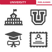 Professional, pixel aligned icons depicting various university education concepts.