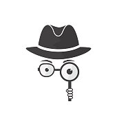 Unknown man in hat, spectacles and a magnifying glass in hand. Inspector. Detective icon.