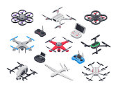 Unmanned aircraft, delivery drone with propellers, camera and computer controller. Gray red blue green military electronics drones and vehicle controllers 3d realistic isolated vector isometric set