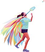 Unusual colorful triangle badminton player. Geometric polygonal professional female badminton player on white background