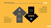 Up and down arrow diagram. Element of presentation, chart, diagram. Creative concept for infographics, business templates, reports. Can be used for topics like analysis, strategy, planning