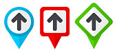 Up arrow red, blue and green vector pointers icons. Set of colorful location markers isolated on white background easy to edit.