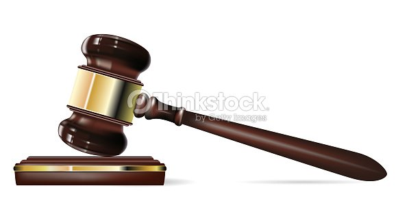 Up Close Photo Of A Judges Gavel On White Background Vector Art