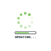 Updating software icon. Circle with transparent circling and spinning dots. Download process symbol with progress bar. Installing app or software.