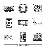 Computer Hardware Icons. PC Upgrading Components thin line vector