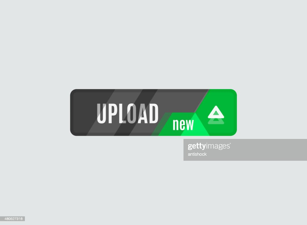 Upload button, futuristic hi-tech UI design : Vector Art