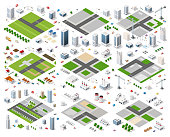 Set of isometric modules for construction and constructing the urban area of the city infrastructure with transport, streets, houses and trees