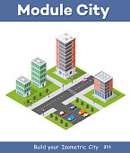 Urban Isometric area of the city infrastructure with transport, streets, houses