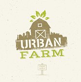 Urban City Farm Organic Eco Concept. Healthy Food Vector Design Element On Craft Paper Background.