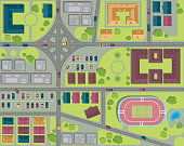 Urban city top view. Streets, houses and buildings, roads, crossroads, park, parking and stadium. View from above Vector illustration