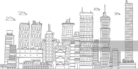 Urban city's building illustraion in black and white : Vector Art