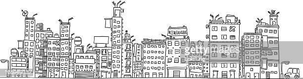 Urban city's building illustraion in black and white