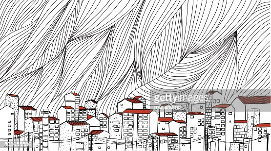 Urban cityscape outline hand draw : Vector Art