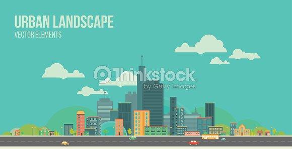 Urban landscape. Flat city.