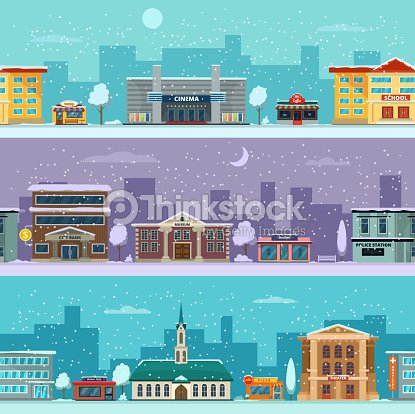 Urban landscape in winter season. Snowy weather. Vector pictures in cartoon style