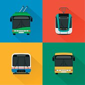 Urban public transport set , modern concept design flat