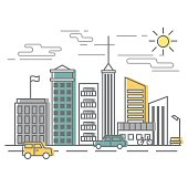 Urban Scene, city street with buildings and cars. Vector illustration in flat style on white background.