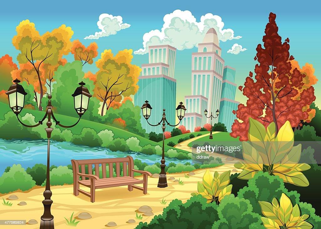 Urban Scenery In A Natural Garden : Vector Art