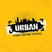 Urban Street Culture Festival Rough Illustration Concept On Grunge Wall Background With Paint Stroke.