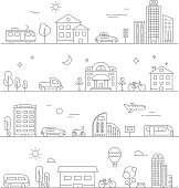Urban traffic. Linear transportation symbols isolate. City road and transport, cityscape outline, vector illustration