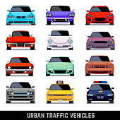 Urban traffic vehicles, car icons in flat style. Model car, police car and vehicle urban car. Vector illustration