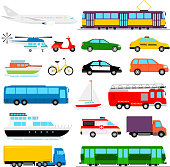 Urban transport colored vector illustration. City transportation and transporter isolated on white background