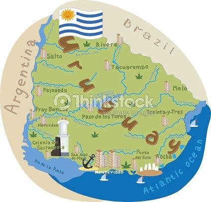 Uruguay Cartoon Map Of Uruguay Vector Illustration With All Main ...