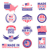 Usa labels. Flag made america american states flags label badge stamp star patriot stripe ribbon emblem sticker banner, vector business icons