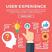 User experience, UX modern concepts. Flat icons and creative graphic objects, elements for web banners, web design, infographics, printed materials. Flat design vector illustration