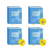 User Guide book download icon set. Flat vector illustration.
