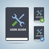User guide manual book illustration in flat style with settings icon and download edit modofications.