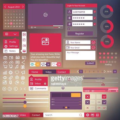 Plana elementos de design de interface de utilizador : Arte vetorial