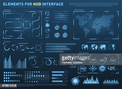 HUD user interface with vector elements. Interactive screen with control panel. Futuristic HUD UI : Arte vetorial