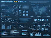 HUD user interface with vector elements. Interactive screen with control panel. Futuristic HUD UI with infographic elements. Vector