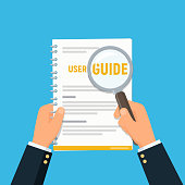 User manual. Close-up businessman hands holding user guide and magnifying glass. Reading and searching information in instruction. Vector illustration in flat style.