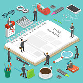 User manual flat isometric vector concept. People, surrounded with some office stuff, are discussing a content of the guide book.