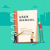 User manual flat style vector concept. People, surrounded with some office stuff, are discussing content of guide book. Requirements specifications document. People are reading book with instructions.