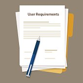 user requirements specifications document paper work vector