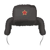 Ushanka icon in cartoon design isolated on white background. Russian country symbol stock vector illustration.