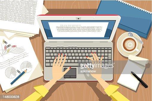 Using laptop : Vector Art