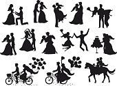 Just married , newlyweds, bride and groom  silhouettes set. Happy Couple celebrating marriage, dancing, kissing, hugging, holding each other in arms, cut cake, riding bike and horse, jumping after cer